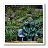 3dRose ht_165331_1 A Set of Frog Statues Sitting on a Garden Bench-Iron on Heat Transfer Paper for White Material, 8 by 8-Inch
