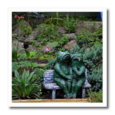 3dRose ht_165331_1 A Set of Frog Statues Sitting on a Garden Bench-Iron on Heat Transfer Paper for White Material, 8 by (Desk Plates Frogs)