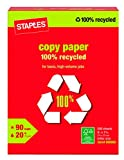 Staples 100% Recycled Copy Fax Laser Inkjet Printer Paper, 500 Sheets, Bright White