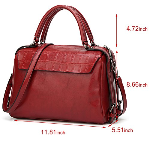 Handle bags Shoulder Leather Vegan Tote Work Handbag Top Designer Red Travel Purse Women DALFR Wine For XwFq5xnxE