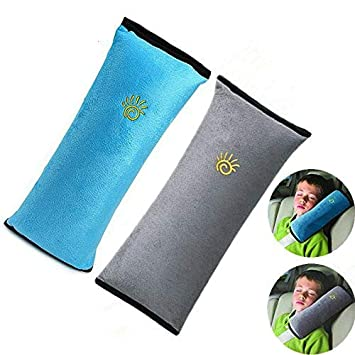 Auto Seat Belt Pillow Car Safety Belt Protect,Shoulder Pad,Adjust Vehicle Seat Belt Cushion For Children,Kids Seatbelt Pillow 2 Packs Gray,Blue