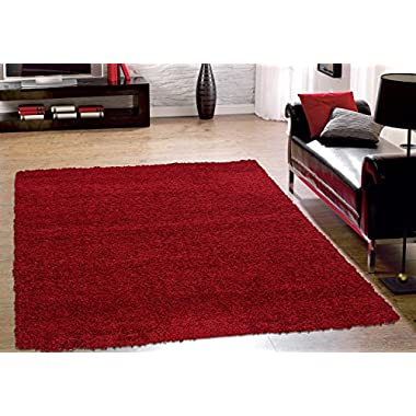 Sweet Home Stores Cozy Shag Collection Red Solid Contemporary Living & Bedroom Soft Shaggy Area Rug, 94  L x 118  w