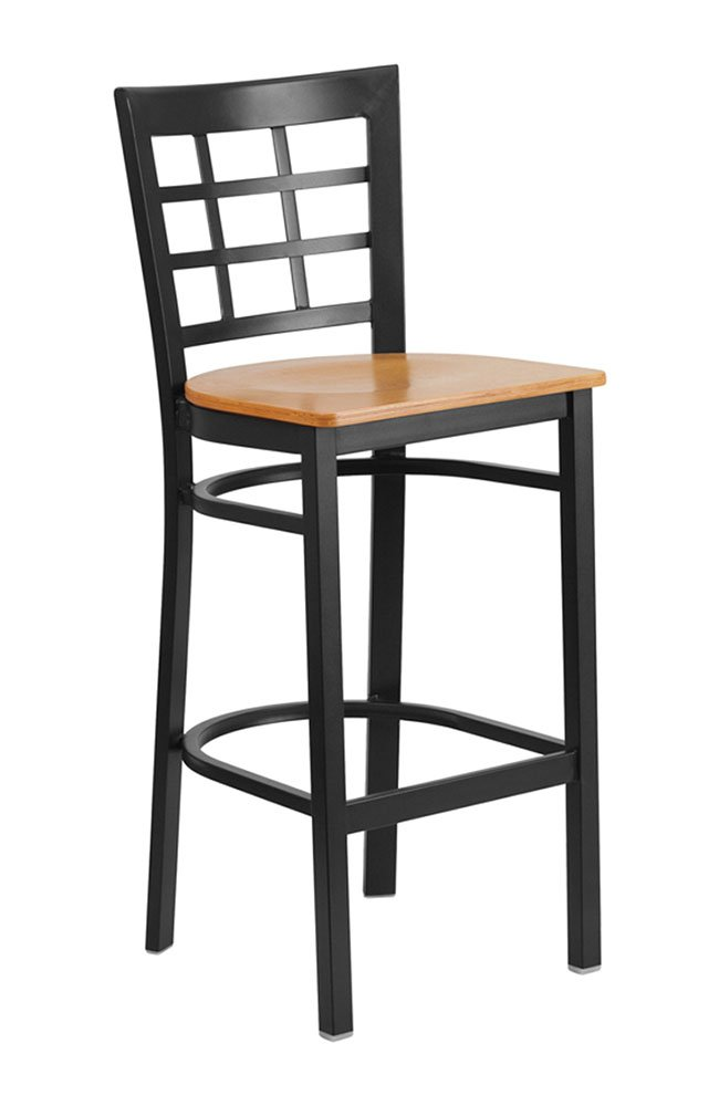 Offex Black Window Back Metal Restaurant Barstool with Natural Wood Seat