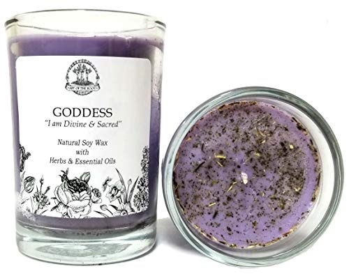 Art of the Root Goddess Affirmation Candle: 8 oz Natural Soy with Herbs & Essential Oils for Divinity, Wisdom, Power, Admiration & Spirituality for Wiccan, Pagan & Magic Spells & Rituals