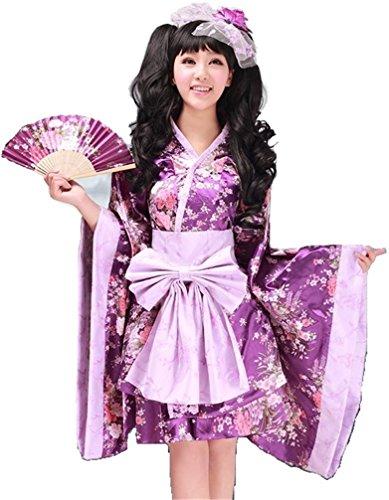Sakura kimono Purple Lolita dress Cosplay anime costumes for women and girls (M)