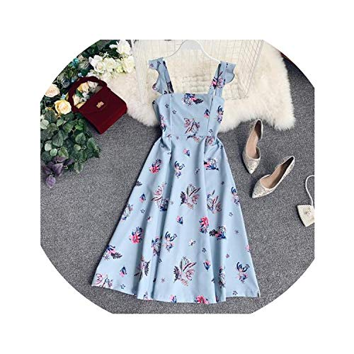 four- Women Sweet Flower Print Casual Dress High Waist Thin Sleeveless Summer Elegant Vestidos,Blue,One Size