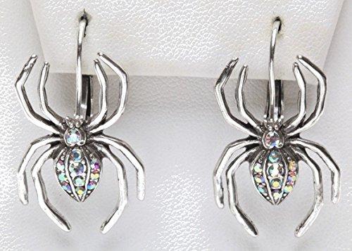 Kirks Folly Magic Spider Leverback Earrings silvertone