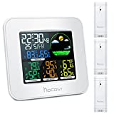HOCOSY 3 Channels Digital In&Outdoor Hygrometer Thermometer, Color Wireless Weather Station, Temperature Humidity Monitor Gauge 3 outdoor sensor, Alarm Clock Function, Time/Date Display, White