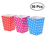 popcorn bag holder - NUOLUX 36pcs Popcorn Boxes Holder Containers Cartons Multi-color Dots Paper Bags