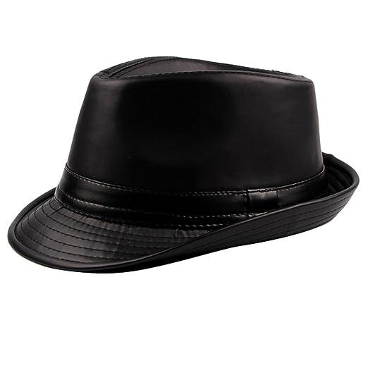 b57ddc49 Zhuhaitf Mens Vintage PU Leather Pork Pie Hat Fedora Hats Jazz Cap Panama  Style
