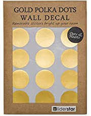 """Gold Dots Wall Decal (210 Dots & 8 Heart Decals) , Nursery Wall Removable Stickers Metallic Polka Dot Decor 