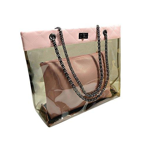 Xuanhemen Two Bag Set Women Girl Transparent Sling Chain Shoulder Bags Handbag Good Security PU Crossbody Messenger Bags Fashion Bags by Xuanhemen