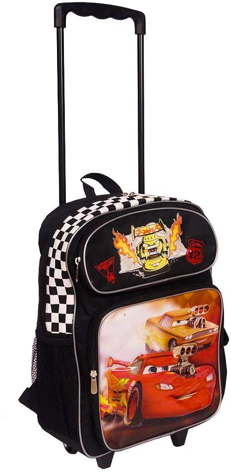 Disney Cars 16 Inch Wheeled Backpack for Kids - Rolling School Bags for Boys