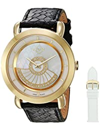 GV2 by Gevril Women's 'Catania' Swiss Quartz Gold-Tone and Leather Casual Watch, Color:White (Model: 3602)
