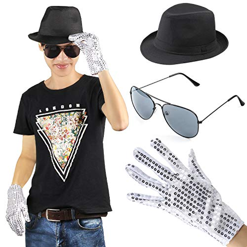 Beelittle Hip-hop Jazz Stage Performance Kit Costume Accessory Set - Fedora Hat Sequin Glove and Sunglasses (E) -