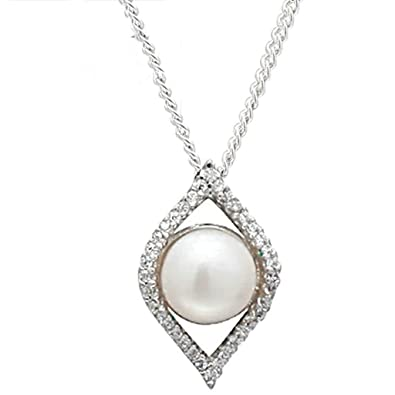 68f561925c50 gnzoe joyas mujer Collar 925 Plata hojas huecas redondo perla forma  colgante mujer cadena Statement novia joyas plata tamaño 1.2 x 2 cm con  circonitas  ...