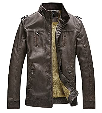 Zicac Men's Fleeced Faux Leather Jacket Casual Stand Collar Coat With Fleece Lined (Coffee, L)