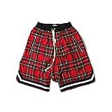 HANGJIA Mens Scottish Plaid Streetwear Side Zipper Lattice Mesh Stretch Waist Baggy Shorts-Red-2XL