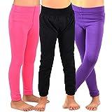 Naartjie Kids Girls Fleece Inner Brushed Leggings 3 Pack, Plain Pink+Purple+Black, 6-8 Years