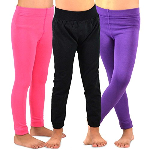 Naartjie Kids Girls Fleece Inner Brushed Leggings 3 Pack, Plain Pink+Purple+Black, 6-8 Years