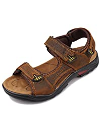 Fangsto Men's Leather Athletic Outdoor Walking and Hiking Sandals
