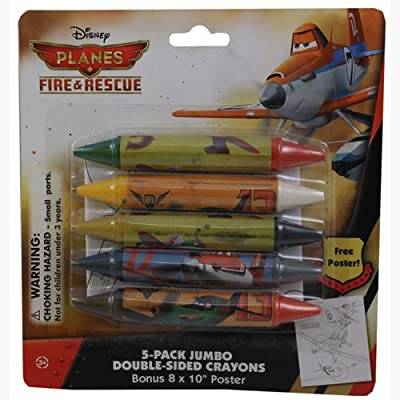 Disney Planes Fire & Rescue 5-Pack Jumbo Double Sided Crayons with Bonus Poster: Toys & Games