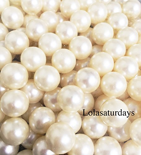 LolaSaturdays Pearls 1-Lbs loose beads - no hole (14mm, ivory) (Pearl Beads Bulk)