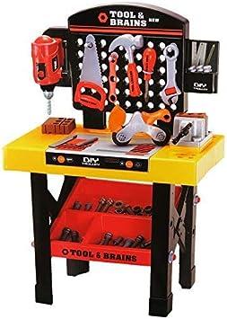 Dominiti Xxl Kinderwerkbank Mit Viel Zubehor Werkzeug Bohrer Sage Und Mehr Heimwerker Werkstatt Fur Kinder Spielzeug Hammer Schrauben Werkbank Amazon De Spielzeug