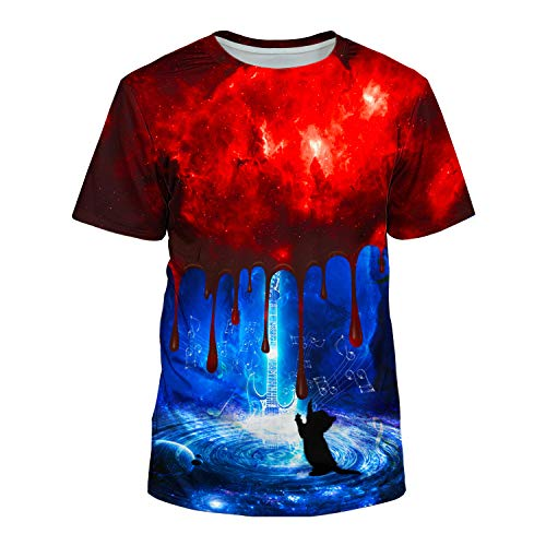 Kayolece Purple T Shirt for Men Women 3D Drum Cat Graphic Band Shirts Music Swag Hip Hop Top Outfit Clothes XXL