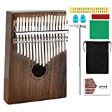 AXHJ Kalimba 17 keys with Study Instruction and Tune Hammer, Portable Thumb Piano Mbira Sanza Acacia Koa Wood Body Ore Metal Tines