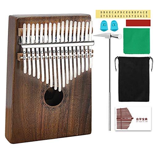 - AXHJ Kalimba 17 keys with Study Instruction and Tune Hammer, Portable Thumb Piano Mbira Sanza Acacia Koa Wood Body Ore Metal Tines