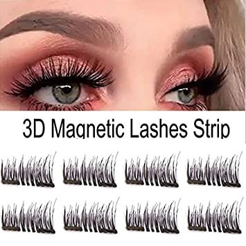 ad101fdc1da Amazon.com : Magnetic Eyelashes - 8piece No Glue Premium Quality False  Eyelashes Set for Natural Look - Best Fake Lashes Extensions 3D Reusable  (Dual ...