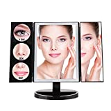 MAKARTT Large Lighted Makeup Mirror, 19.2 inch Trifold Professional Vanity Mirror with 3X/5X/10X Magnification, 360° Rotation, Touch Screen, Battery and USB Powered, Countertop Cosmetic Mirror (Black)