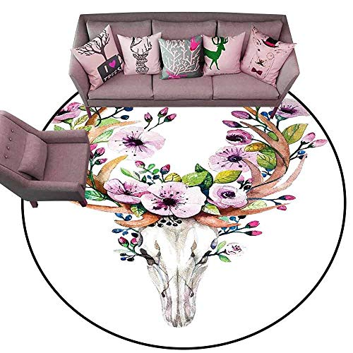 Non-Slip Bath Hotel Mats Skull,Deer Animal Skull with Floral Horns Nature Inspired Dead and Living Art Print,Cream Pink Brown Diameter 72