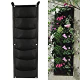 Planting Grow Bags with 7 Pocket Hanging Vertical Garden Wall Planter Balcony Plant Grow Bag 7 Pockets Flower Pouch Pot Living Growing Bag Felt Indoor/Outdoor Pot Wall Home Decoration