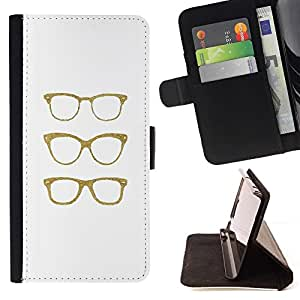 Momo Phone Case / Flip Funda de Cuero Case Cover - Hipster Gafas Bling blanco minimalista - HTC One M7