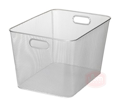 Ybm Home Household Wire Mesh Open Bin Shelf Storage Basket Organizer For Kitchen, Cabinet, Fruits, Vegetables, Pantry Items Toys 1115s (1, 14 x 10 x 8.8) (Wire Mesh Basket Storage)