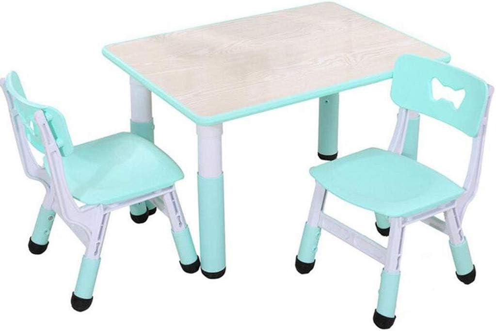 ZY Childrens study table and chair Mesas y sillas de Estudio para niños, Mesa de Graffiti de Madera, Mesa de plástico de Altura Ajustable - para recepción/Sala de niños/Sala de Juegos/Sala de