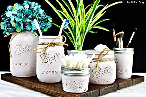 5 Piece Mason Jar Bathroom Set. Painted Mason Jar Decor. Bathroom Organizer. Colors Customizable To Match Your Color Scheme. -