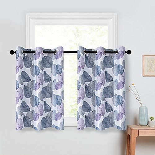 MRTREES Short Tier Curtains 36 inches Long Grey Leaves Printed Kitchen Tiers Room Darkening Cafe Curtains Leaf Print Bathroom Small Window Treatment Set Basement Multi Color 2 Panels Grommet Top