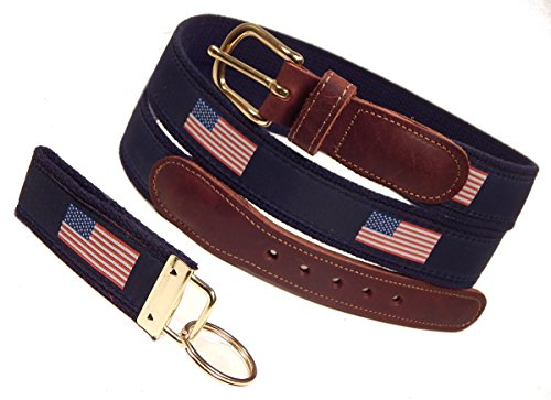 Preston Leather American Flag Belt, Navy, Sizes 30 to 50, FREE Matching Key Ring (Size 34) - Mens Leather Usa Flag