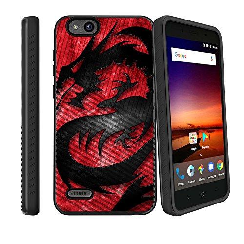 (MINITURTLE Case Compatible w/ZTE Avid 4 Phone Case w/Grip Pattern [Slim Case for ZTE Tempo X 2017, for ZTE Blade Vantage 2017] Hard Shell Hybrid Case for Avid 4 Z839 Phone - Red Dragon)