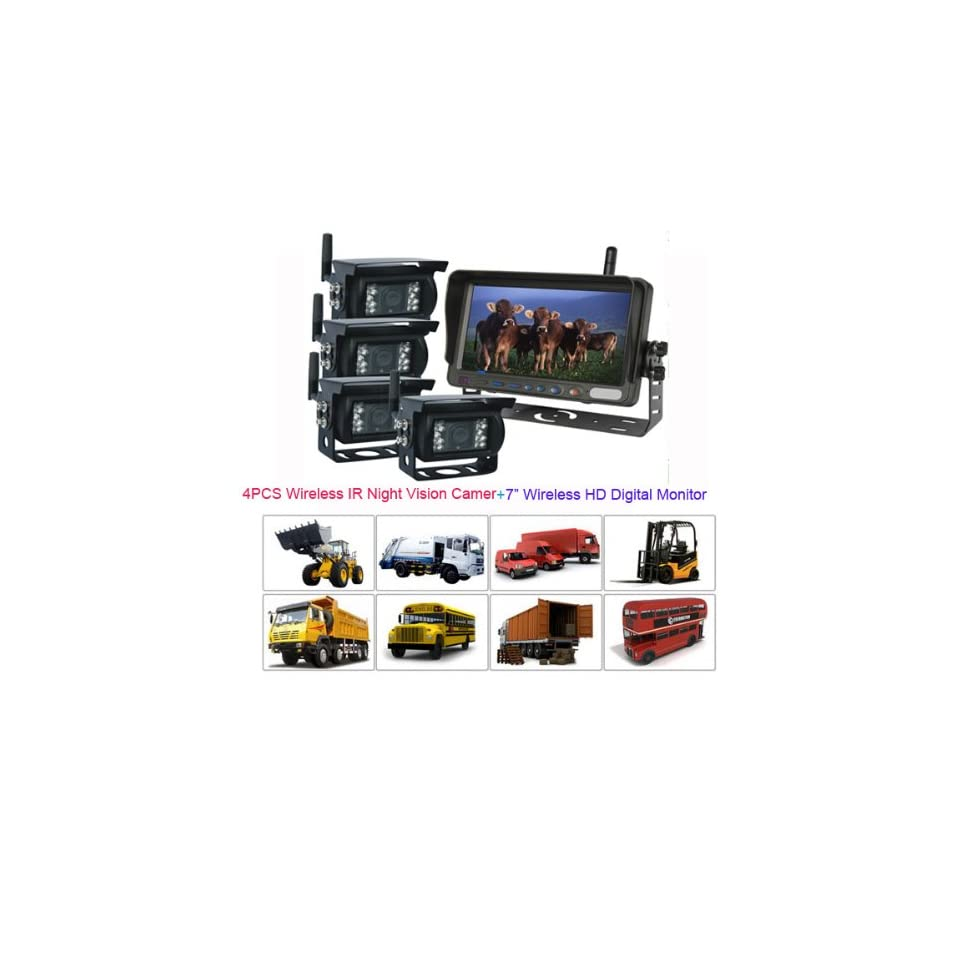 Rupse 7 QUAD HD Monitor Wireless IR Night Vision Rear View Back up Camera System for RV Truck Trailer Bus or Fifth Wheel