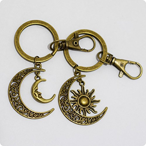 Charm Sun and Moon Keychain Set Best Friends Keychain Set Sun and Moon Couples Keychains