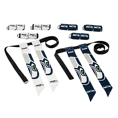 Franklin Sports Seattle Seahawks Flag Football Set - 8 Flag Belts - 8 Player - Self Stick Tear-Away Flags - NFL Official Licensed Product -