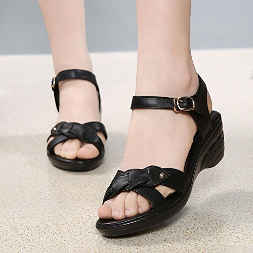 Non The Soft 2017 Women Sandals High Leather Heeled Shoes In L Black With Slope Slip YC 1PxCXqwt4