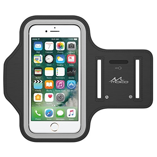 "MoKo Armband for iPhone 7 / iPhone 6s / 6, Sweatproof Sports Running Armband Workout Arm Band Cover for iPhone 7, 6S, 6, 5S, 5, Galaxy S7, Moto G, BLU 5.0, Black (Fits Arm Girth 10.8""-16.5"")"