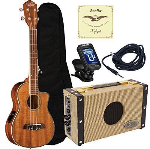 Oscar Schmidt OU6LCE Acoustic Electric Koa Tenor Ukulele Amplifier Package by Oscar Schmidt