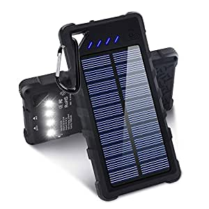 Solar Charger, 16000mAh Portable Solar Power Bank with IPX7 Waterproof Function, External Solar Panel Battery Pack Phone Charger with 4 LED Flashlights for iPhone 8/8 Plus, Samsung S8/Note 8 and More