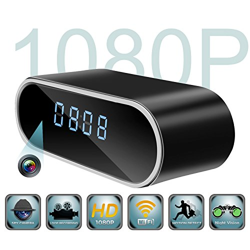 Spy Camera,LUCKYPUG Mini Hidden Camera in Clock, HD 1080p Wifi Security Camera/Covert Nanny Cam with Motion Detection/Night Vision/Loop Recording for Indoor Home Security Monitoring